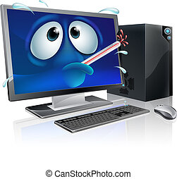quebrada, vírus, computador, caricatura