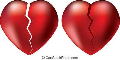 quebrada, vetorial, corações