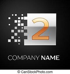 quebrado, quadrado, blocos, coloridos, símbolo, numere dois, experiência., vetorial, desenho, modelo, logotipo, pretas, seu, golden-silver