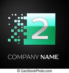quebrado, quadrado, blocos, coloridos, símbolo, numere dois, experiência., vetorial, desenho, modelo, logotipo, verde, seu, pretas