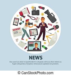 quebrando notícia, cartaz, para, jornalismo, profissão, de,...