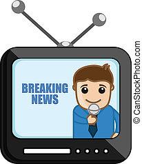 quebrando notícia, -, cartoons negócio