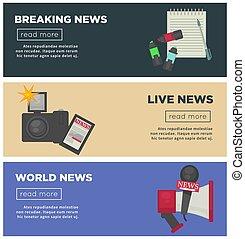 quebrando notícia, e, jornalismo, profissão, apartamento,...