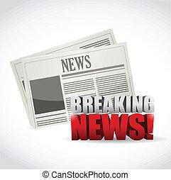 quebrando notícia, jornal, ilustração, desenho