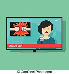 quebrando notícia, ligado, tela tv, programa televisão, com, mulher, repórter