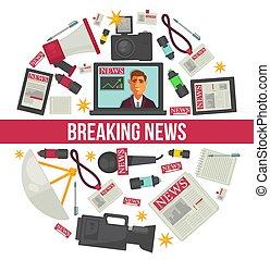 quebrando notícia, repórter, jornalismo, vetorial, cartaz