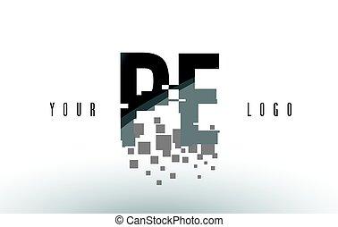 quebrantado, e, pe, p, negro, carta, digital, logotipo,...