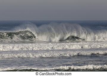 quebrar, mar, onda