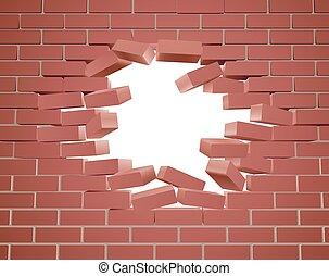 quebrar, parede, tijolo