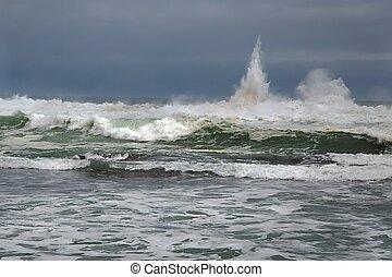 quebrar, tempestuoso, ondas