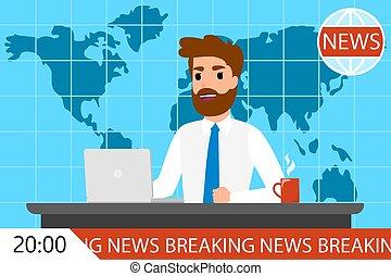 quebrar, tv., notícia, macho, newscaster, homem