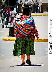 Quechua Indian native local woman near Puno, Peru, South America