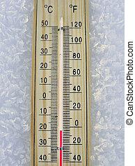 quecksilber, hölzern, thermometer
