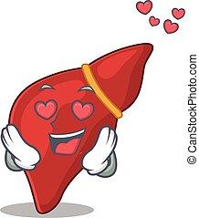 queda, amor, caricatura, rosto, personagem, fígado, saudável...