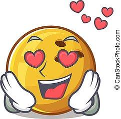 queda, amor, personagem, bola fazendo rolar, caricatura, cute, desenho
