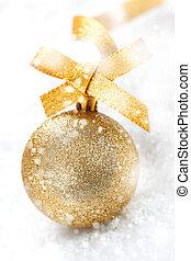 queda, bola, neve, ouro, natal