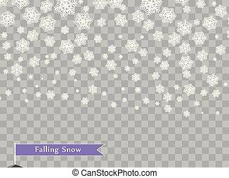 queda, branca, snowflakes, ligado, transparente, escuro, experiência., camada, desenho, element., inverno, decoração, para, ano novo, e, natal, holidays., vetorial, illustration.