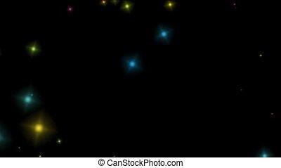 queda, cor, partículas, e, estrelas