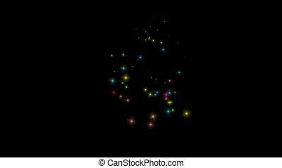 queda, cor, partículas, e, stars.