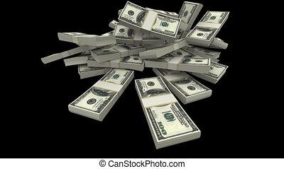 queda, dólares, pacotes, -, usd, (matte)