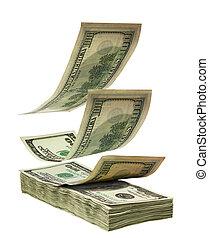 queda, dólares, pilha