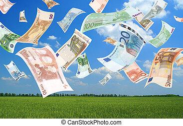 queda, euros, (field, background)