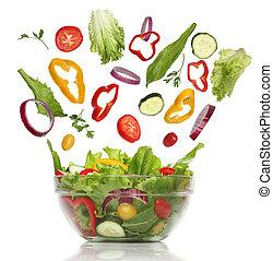 queda, fresco, vegetables., saudável, salada, isolado