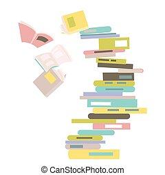 queda, livros, pilha
