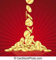 queda, moedas ouro
