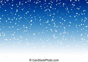queda, neve, sobre, noturna, azul, inverno, céu, fundo