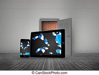 queda, pílulas, ligado, tabuleta, e, smartphone, telas, contra, porta aberta, com, parede, atrás de, aquilo