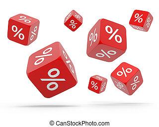 queda, vermelho, cubos, com, cento