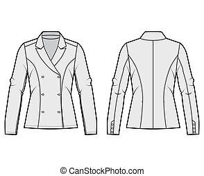 quedaba bien, doble, sleeves., ilustración, chaqueta, ...
