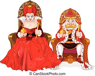Queen and king - Illustration of queen and king