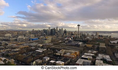 Queen Anne Hill Seattle Washington Downtown City Skyline -...