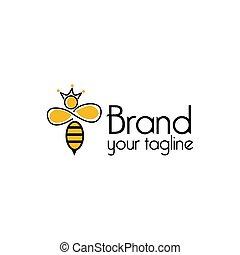Queen bee Line logo, flat design. Vector Illustration on white background