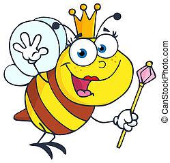 Queen Bee Waving For Greeting - Queen Bee Cartoon Character...