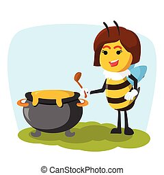 queen bee with holding pot of honey