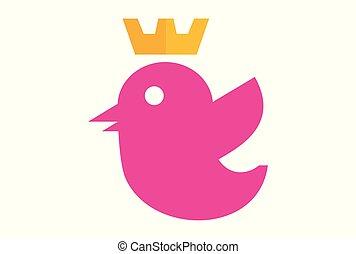 queen bird abstract logo vector