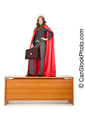 Queen businessman standing on the desk