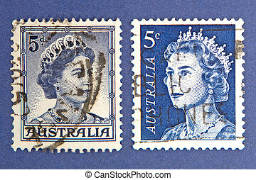 Queen Elizabeth. Postage stamps.