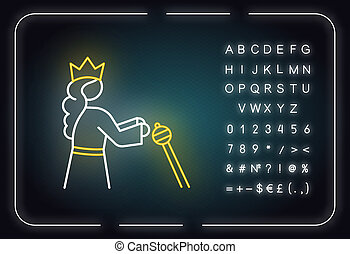 Queen Esther Bible story neon light icon. Persian queen in crown. Old Testament Biblical religious narrative. Glowing sign with alphabet, numbers and symbols. Vector isolated illustration