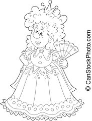 Queen fanned herself, black and white outline vector...