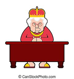 Queen for workplace Desktop. Boss old lady in crown sits at table. Vector illustration