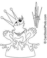 Queen -frog, coloring.