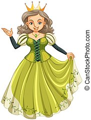 Queen in green dress illustration