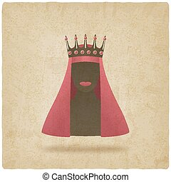 Queen in red veil old background