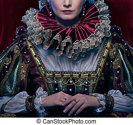 Queen in royal dress and luxuriant collar