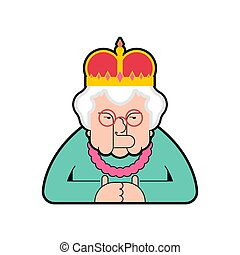 Queen isolated. Boss old lady in crown. Vector illustration