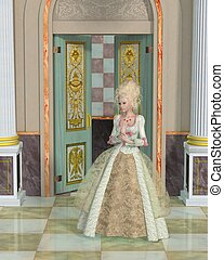 Queen Marie Antoinette in the Palac - Imaginary illustration...